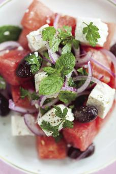 watermelon, mint and feta salad with a twist