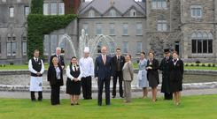 Niall Rochford, (centre) General manager Ashford Castle, Cong, pictured with some of his staff from left Michael Conneely, Bar manager, Mary Conroy, Account and stores, Robert Bowe, Resturant manager, Eleanor Browne, Resturant assistant, Stefan Matz, Executive Head Chef, T.J. Mulcahy, Deputy General manager, Paula Carroll, Director of Sales and marketing, Jolanta Tatarzynska, Housekeeing Assistant, Yvonne Peters Hill, Front Office manager, Francis Mannion, and Catherine Kenny, Rooms Division manager . Photo: Ray Ryan
