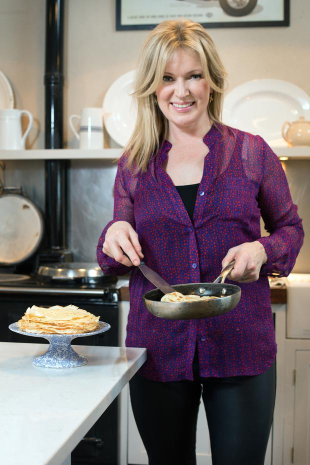 Rachel Allen cooks pancakes. Photo: Tony Gavin