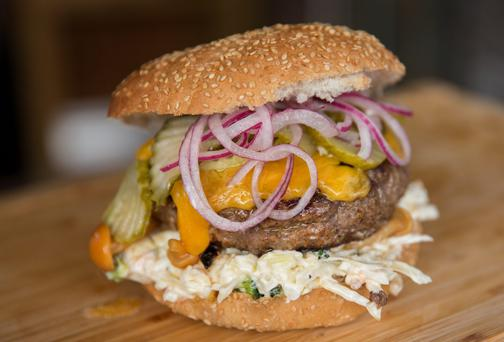 Beefed up: Butcher and farmer Pat Whelan's burger.