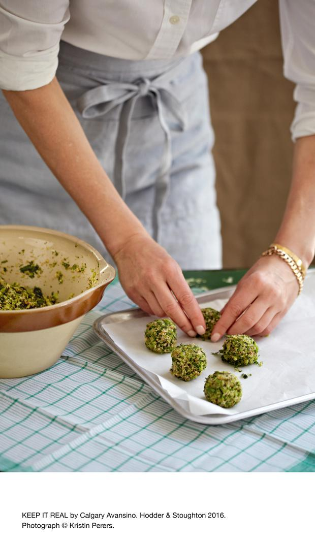 Broccoli meatballs from Keep It Real by Calgary Avansino. Hodder & Stoughton Publishers 2016