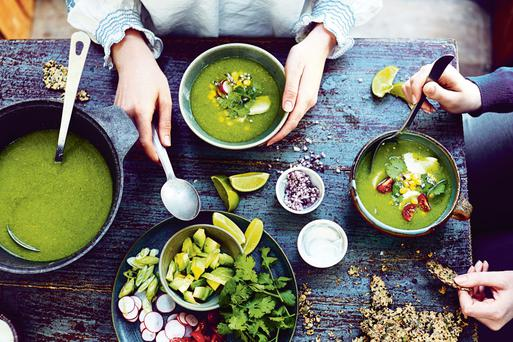 Mexican posole verde (celebration soup) from Skinny Soups by Kathryn Bruton