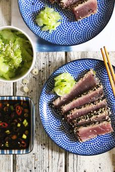 Sesame crusted tuna with ginger ponzu