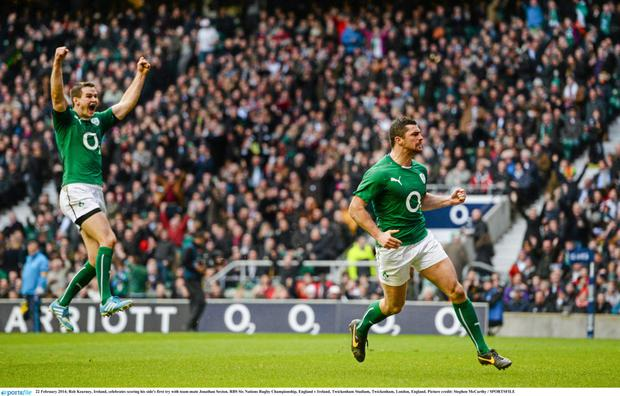 Rob Kearney celebrating scoring Ireland's first try against England with Jonathan Sexton in the 2014 RBS Six Nations Rugby Championship at Twickenham. Photo: Stephen McCarthy / Sportsfile