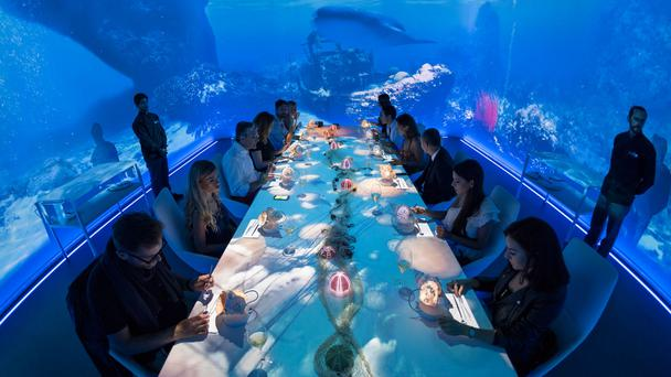 Sea food: Diners at Shanghai's Ultraviolet restaurant take in an underwater experience. Photo: Scott Wright of Limelight Studio