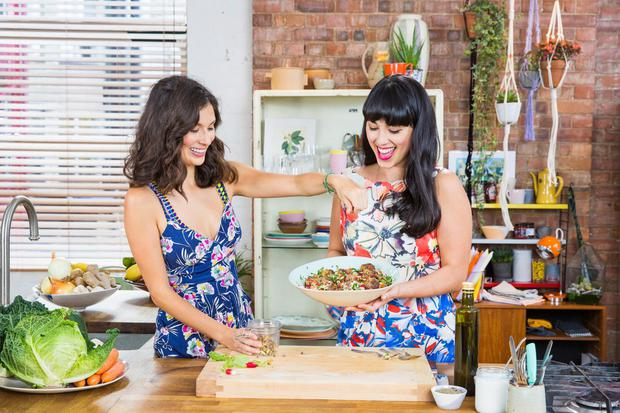 Jasmine, left, and Melissa Hemsley on their Channel 4 TV show Eating Well with Hemsley and Hemsley