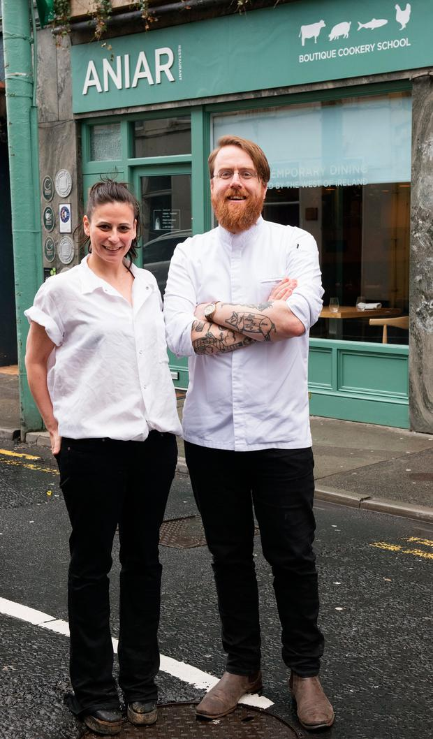 Stepping up to the plate: Amanda Cohen with JP McMahon outside Anair. Photo: Andrew Downes, XPOSURE .