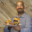 The burger king: Chris Telford uses a mixture of chuck, short rib and brisket for his patties