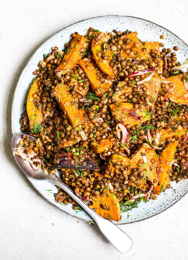 Sweet potato, lentil and herb salad by Indy Power