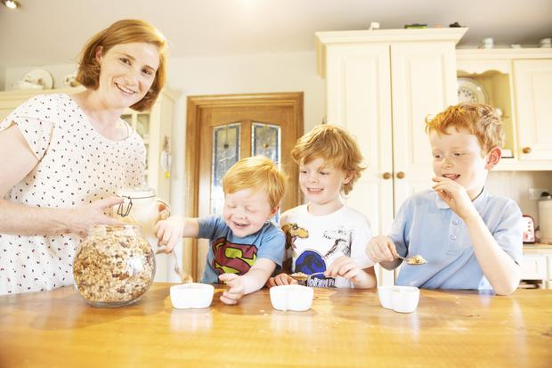 Michelle Collins and her boys Joe, Tomsie and Seanie make their own yoghurt at home. Photo: Andrew Downes, Xposure