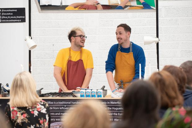Keen eating: Russell James Alford (left) and Patrick Hanlon at the 2018 Waterford Harvest Festival