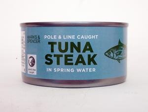 Marks & Spencers Pole and Line-Caught Tuna Steak in Spring Water 200g