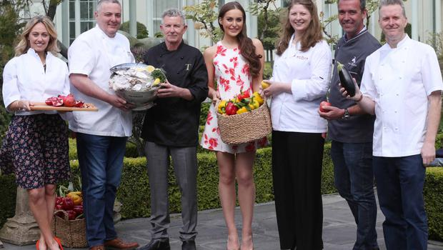 Clodagh McKenna, Richard Corrigan, Kevin Thornton, Roz Purcell, Joy Beattie, Kevin Dundon and Ross Lewis pictured at the Taste of Dublin 2015 launch with renowned chef Richard Corrigan, recipient of the Taste Icon Award in celebration of 10 Years of Taste. Photo: Leon Farrell