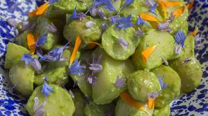 Potato salad with basil. Photography by Tony Gavin