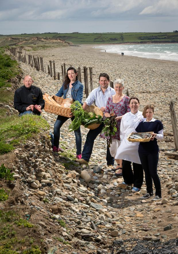 A Food Journey: Local producers from Waterford, from left, Jason Conway of Elda Wild Irish Venison; Sarah Richards of Seagull Bakery, Tramore; Owen Dunphy of Dunphy's Vegetable Farm, Annestown; Marie Power, the Sea Gardener; Jenny Flynn, head chef at Faithlegg House Hotel & Golf Resort; and Aine Whittle of Flanagan's Fish. Photo: Dylan Vaughan