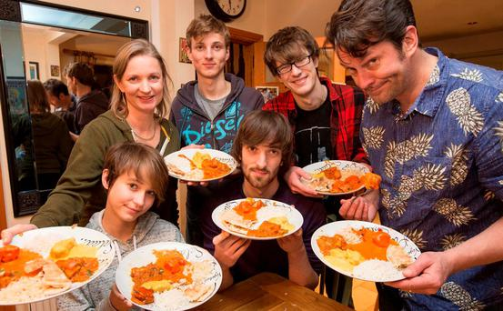 Emily Diebold, her husband David and children Jessica, Sammy, Zackery and Jonathon who divided an Indian takeaway for three among the whole family.