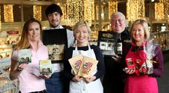 Bite at the RDS for Lucinda O'Sullivan. Dorene Mallon (Farmers Daughter), Graham Kearns (Graham Condiments), Biddy McLoughlin (Biddy's Cottage Oat Cakes), Tom Keightley (St Patricks Distllery) and Leoine Ferguson (Lainey's Handmade Foods).