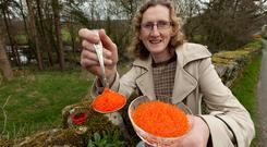 A top-drawer treat: Mag Kirwan of Eat Trout, with Ireland's first caviar on the grounds of Goatsbridge Trout Farm in Thomastown, Co Kilkenny. Photo: Dylan Vaughan