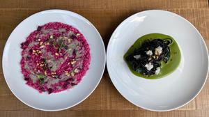 The beetroot risotto and the squid ink linguine