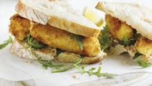 Ultimate fishfinger sandwich with chipotle mayo and rocket