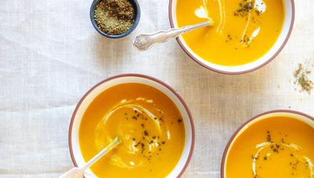 Carrot, apple and red lentil soup. Recipe and photo by Susan Jane White