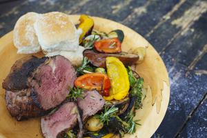 Striploin beef & grilled vegetables. Photo: Kyle Tunney