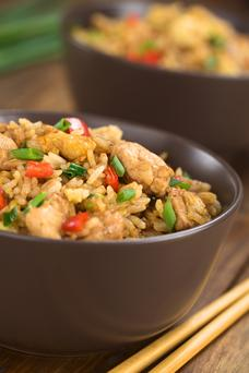 Healthy chicken fried rice.