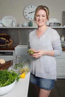 Rachel Allen with asparagus, one of her favourite vegetables. Photo: Tony Gavin