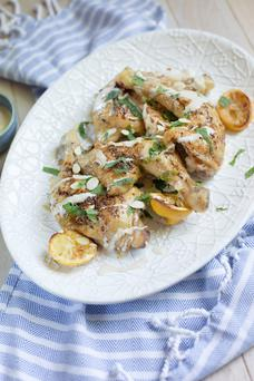 Roast chicken with tahini and almonds