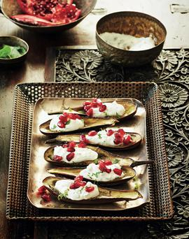 Baked aubergine boats with mint yoghurt