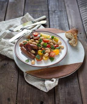 Merquez Sausages with Butter Bean Salad