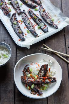 Sweet miso glazed aubergine. Photo: Mark Duggan.