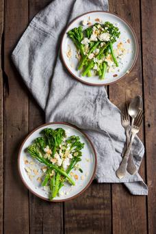 Broccoli salad with feta and toasted almonds. Photo: Mark Duggan.