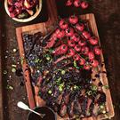Port marinated skirt steak and roasted grape tomatoes.