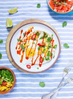 Eggs taco with Sriracha sauce. Photo: Mark Duggan