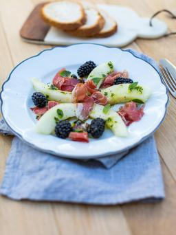 Forkful blackberry and melon salad. Photo: Mark Duggan