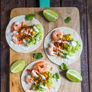 Prawn and avocado tostados. Photo: Mark Duggan