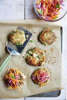 Haddock Fishcakes with celeriac & squash mash and wilted greens