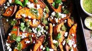 Sweet Potato Wedges with Salsa Verde & Feta