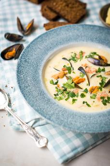 Seafood chowder from the Ardilaun hotel served with Guinness brown bread with walnuts. Photo: Julia Dunin photography