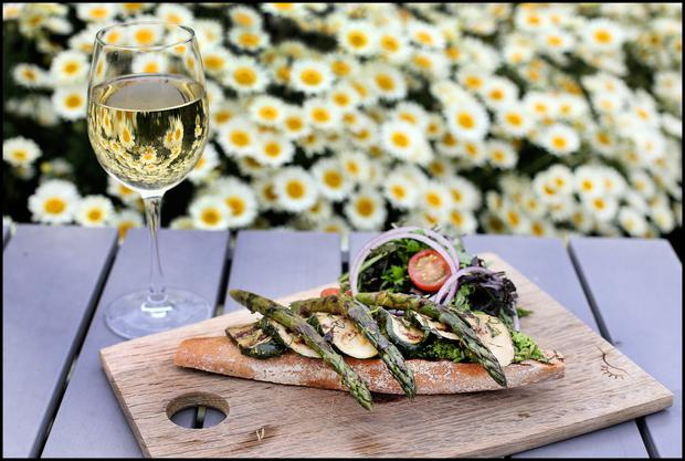 Lunch in the sun recipes from fallon byrnes executive chef asparagus courgette open sandwich with minted peas forumfinder Image collections