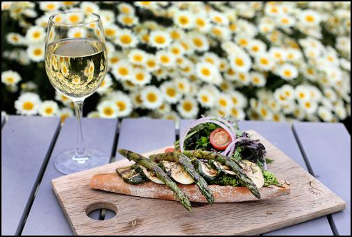Asparagus & courgette open sandwich with minted peas