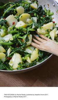 Potatoes and Greens from Two Kitchens by Rachel Roddy, published by Headline Home 2017.