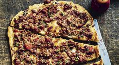 Quick flatbread with spiced lamb and tahini