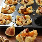 Roast pumpkin, fig and goat's cheese tarts