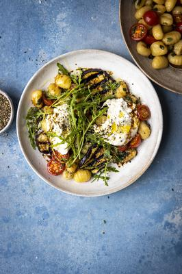 Grilled Aubergine Gnocchi Balsamic Tomatoes & Burrata by Donal Skehan