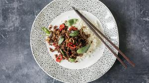 Chilli and basil pork stir fry. Plate by Carolyn Donnelly eclectic at Dunnes Stores. Photo: Tony Gavin