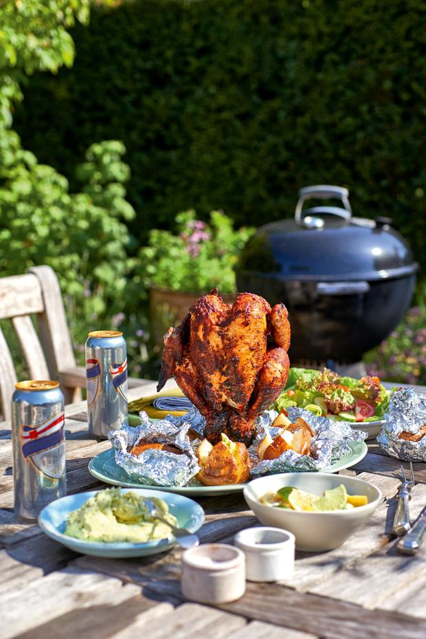 Beer can piri piri chicken