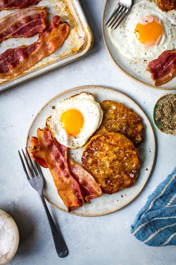 Boxty pancakes with eggs and bacon