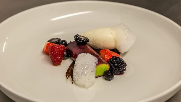 Chilled Basil Parfait with Summer Fruits